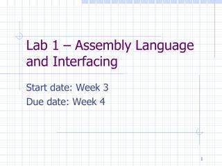Lab 1 – Assembly Language and Interfacing