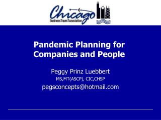 Pandemic Planning for Companies and People