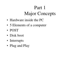 Part 1 Major Concepts