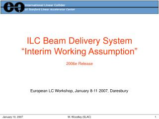 "ILC Beam Delivery System ""Interim Working Assumption"" 2006e Release"