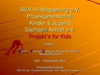 Projekt : S port –  F reizeit- Z entrum Kinder & Jugend -Neustädter Feld   SFZ – Neustädter Feld