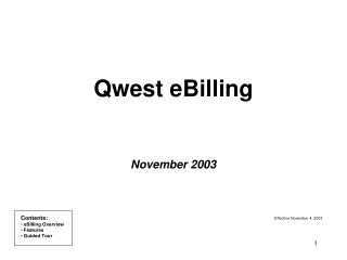 Qwest eBilling November 2003