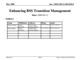 Enhancing BSS Transition Management
