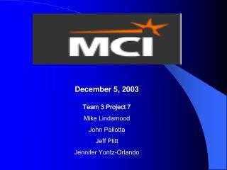 Team 3 Project 7 Mike Lindamood John Pallotta Jeff Plitt Jennifer Yontz-Orlando