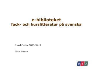 e-biblioteket fack- och kurslitteratur på svenska