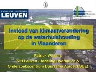 Invloed van klimaatverandering op de waterhuishouding in Vlaanderen