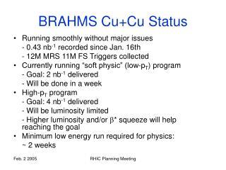 BRAHMS Cu+Cu Status