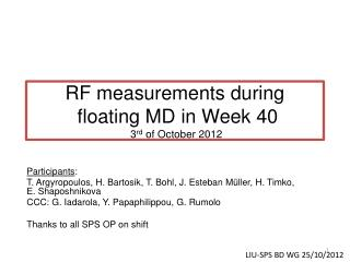 RF measurements during  floating MD in Week 40  3 rd  of October 2012