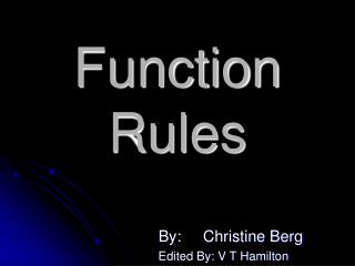 Function Rules