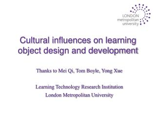Cultural influences on learning object design and development
