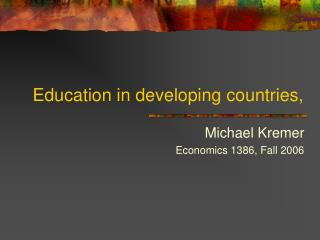 Education in developing countries,