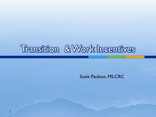 Transition  & Work  Incentives