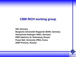 CBM RICH working group