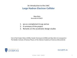 An Introduction to the LHeC  Large Hadron Electron Collider