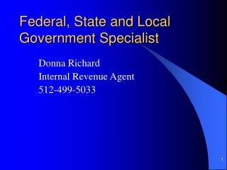 Federal, State and Local Government Specialist