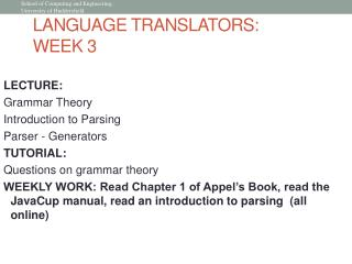 LANGUAGE TRANSLATORS:  WEEK 3