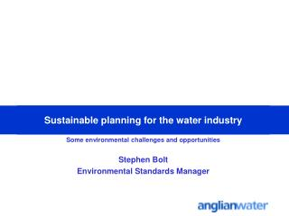 Sustainable planning for the water industry
