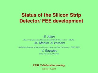 Status of the Silicon Strip  Detector/  FEE  development
