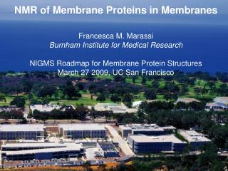 NMR of Membrane Proteins in Membranes Francesca M. Marassi Burnham Institute for Medical Research