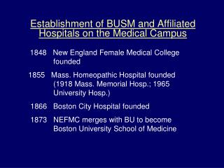 Establishment of BUSM and Affiliated Hospitals on the Medical Campus