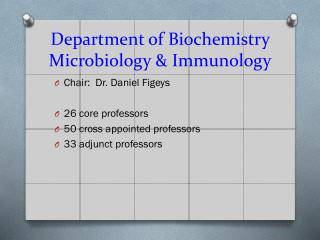 Department of Biochemistry Microbiology & Immunology