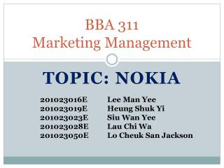 BBA 311 Marketing Management