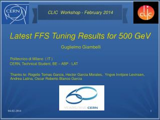 Latest FFS Tuning Results for 500 GeV