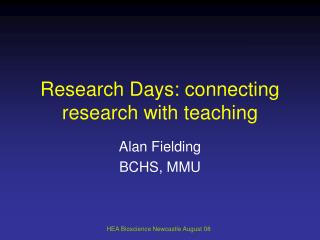 Research Days: connecting research with teaching