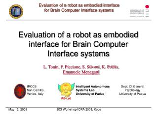 Evaluation of a robot as embodied interface for Brain Computer  Interface systems