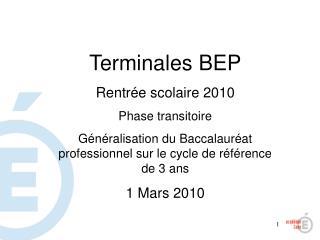Terminales BEP Rentrée scolaire 2010 Phase transitoire
