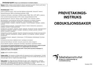 PRØVETAKINGS-INSTRUKS OBDUKSJONSSAKER