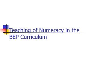 Teaching of Numeracy in the BEP Curriculum