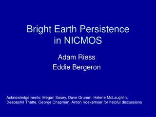 Bright Earth Persistence in NICMOS
