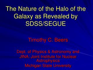 The Nature of the Halo of the Galaxy as Revealed by SDSS/SEGUE