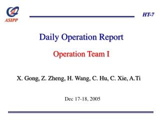 Daily Operation Report Operation Team I