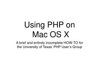Using PHP on Mac OS X
