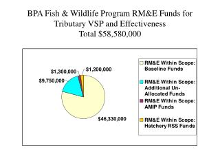 BPA Fish & Wildlife Program RM&E Funds for Tributary VSP and Effectiveness  Total $58,580,000