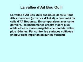 La vallée d'Aït Bou Oulli