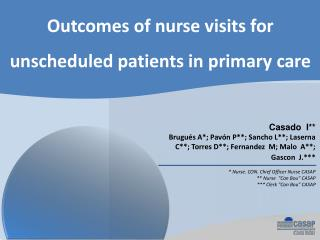 Outcomes of nurse visits for unscheduled patients in primary care