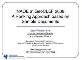 INAOE at GeoCLEF 2008:  A Ranking Approach based on Sample Documents
