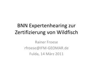 BNN Expertenhearing zur Zertifizierung von Wildfisch