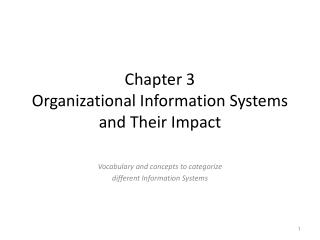 Chapter 3 Organizational  Information Systems and Their Impact