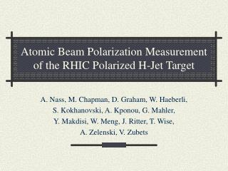 Atomic Beam Polarization Measurement of the RHIC Polarized H-Jet Target