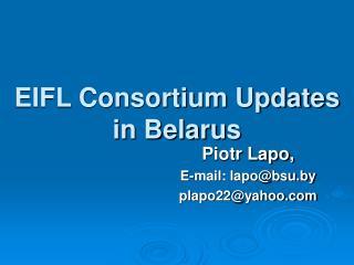 EIFL Consortium Updates in Belarus