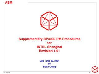 Supplementary BP3000 PM Procedures for  INTEL Shanghai Revision 1.01