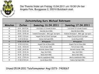 Stand 05.04.2011 Telefonnummer Angi 0173- 7428167