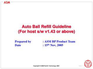 Auto Ball Refill Guideline (For host s/w v1.43 or above)