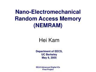 Nano-Electromechanical Random Access Memory (NEMRAM)