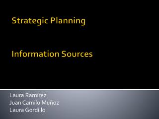 Strategic Planning Information Sources