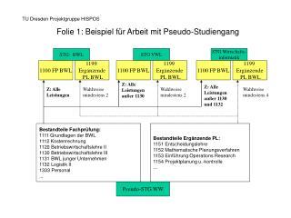 Folie 1: Beispiel für Arbeit mit Pseudo-Studiengang